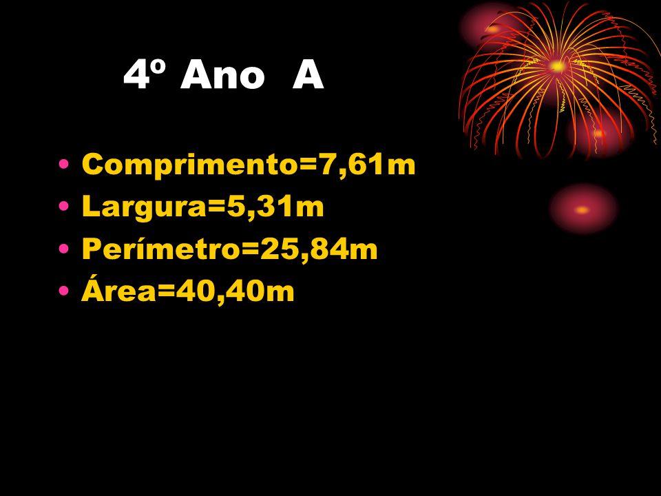 5° Ano A •Comprimento=7,02m •Largura=6,78m •Perímetro=27,60m •Área=47,59m