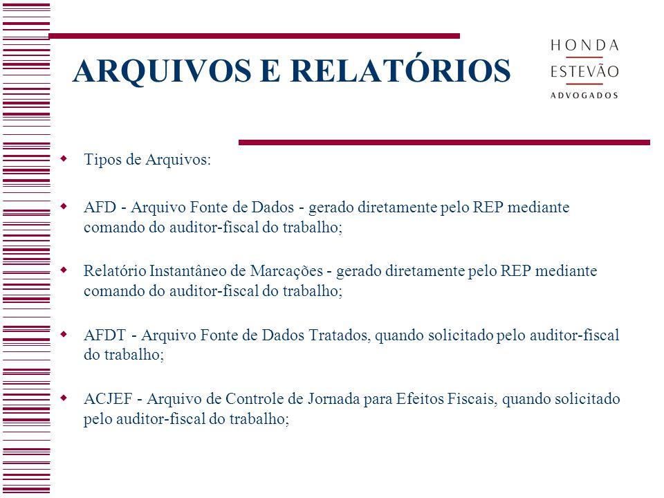 ARQUIVOS E RELATÓRIOS  Relatório Espelho de Ponto, quando solicitado pelo auditor-fiscal do trabalho;  Atestado Técnico e Termo de Responsabilidade fornecido pelo fabricante do REP.