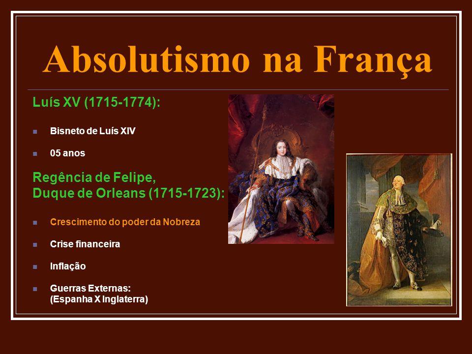 Absolutismo na França Luís XV (1715-1774):  Bisneto de Luís XIV  05 anos Regência de Felipe, Duque de Orleans (1715-1723):  Crescimento do poder da