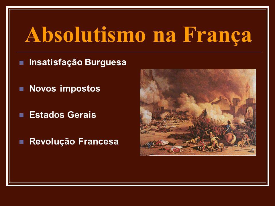 Absolutismo na França  Insatisfação Burguesa  Novos impostos  Estados Gerais  Revolução Francesa