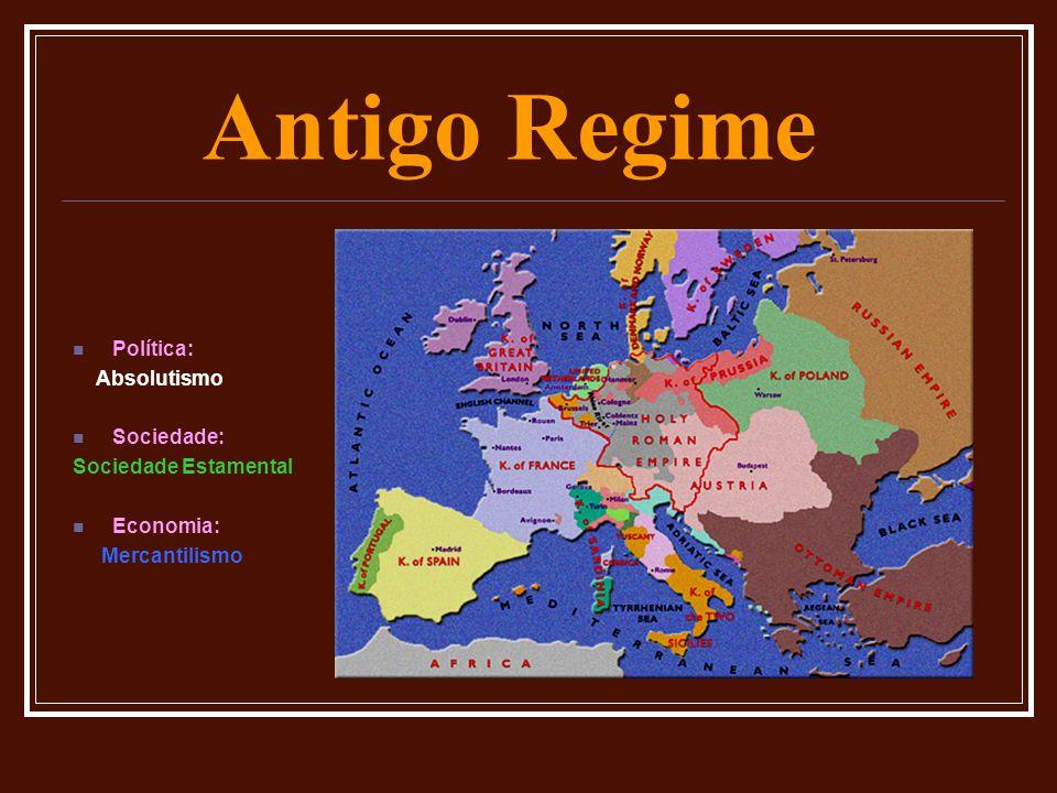Antigo Regime  Política: Absolutismo  Sociedade: Sociedade Estamental  Economia: Mercantilismo