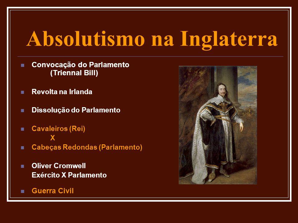 Absolutismo na Inglaterra  Convocação do Parlamento (Triennal Bill)  Revolta na Irlanda  Dissolução do Parlamento  Cavaleiros (Rei) X  Cabeças Re