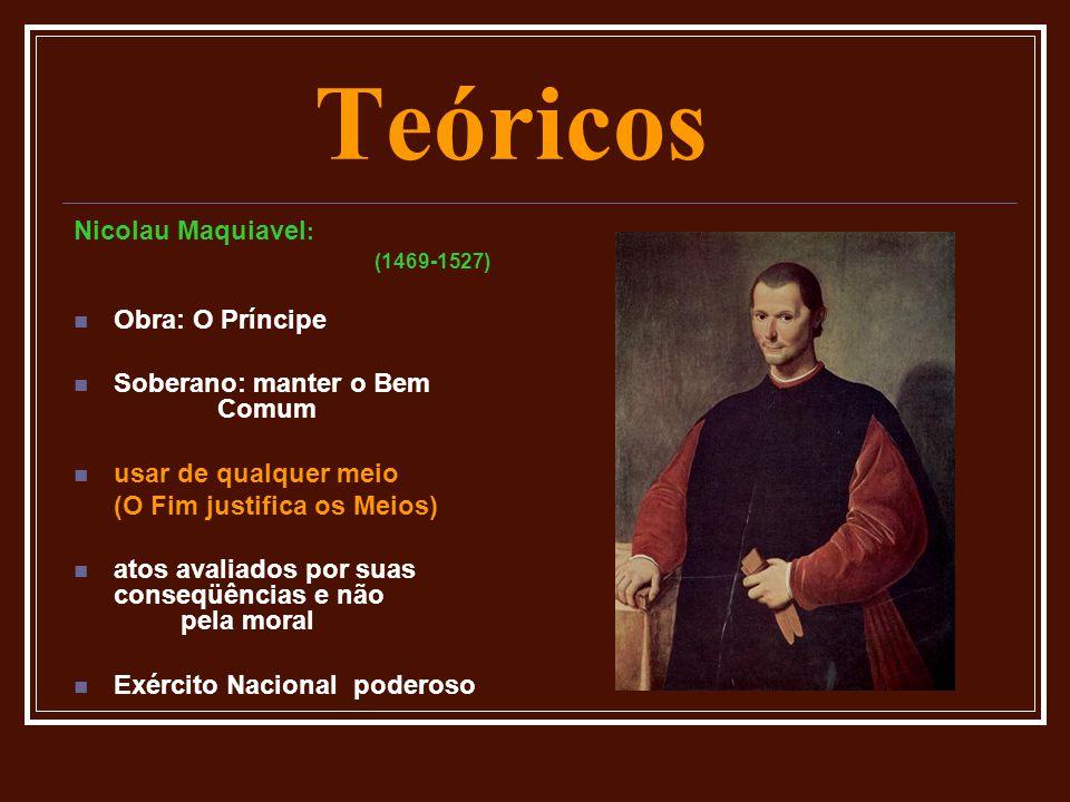 Teóricos Nicolau Maquiavel : (1469-1527)  Obra: O Príncipe  Soberano: manter o Bem Comum  usar de qualquer meio (O Fim justifica os Meios)  atos a