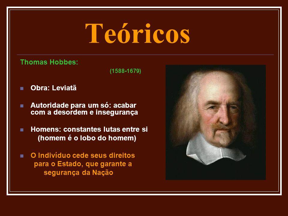 Teóricos Thomas Hobbes: (1588-1679)  Obra: Leviatã  Autoridade para um só: acabar com a desordem e insegurança  Homens: constantes lutas entre si (