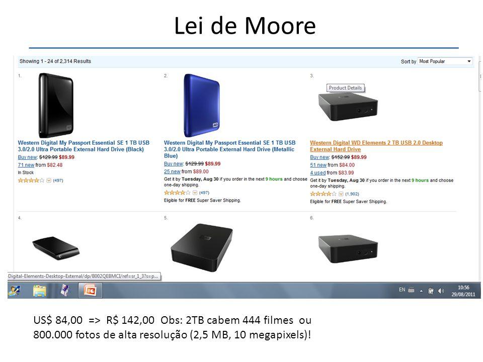 """• A lei de Moore diz que """"A cada 18 a 24 meses é lançada uma nova tecnologia que permite que os computadores dupliquem o desempenho """" Lei de Moore US$"""