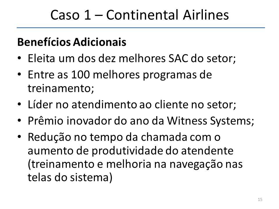 Caso 1 – Continental Airlines Benefícios Adicionais • Eleita um dos dez melhores SAC do setor; • Entre as 100 melhores programas de treinamento; • Líd
