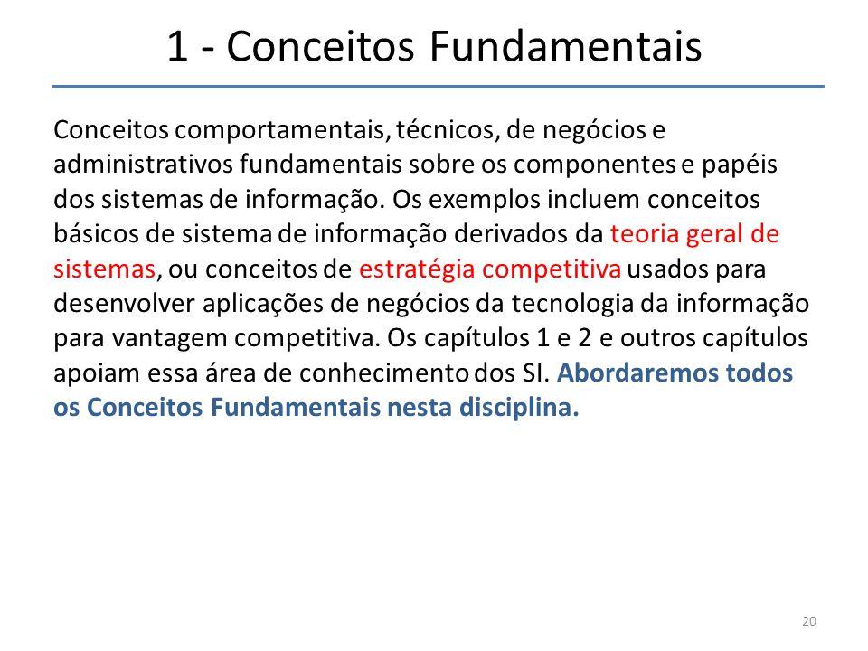 1 - Conceitos Fundamentais Conceitos comportamentais, técnicos, de negócios e administrativos fundamentais sobre os componentes e papéis dos sistemas