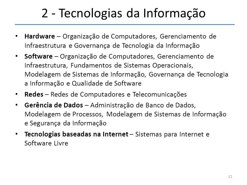2 - Tecnologias da Informação • Hardware – Organização de Computadores, Gerenciamento de Infraestrutura e Governança de Tecnologia da Informação • Software – Organização de Computadores, Gerenciamento de Infraestrutura, Fundamentos de Sistemas Operacionais, Modelagem de Sistemas de Informação, Governança de Tecnologia a Informação e Qualidade de Software • Redes – Redes de Computadores e Telecomunicações • Gerência de Dados – Administração de Banco de Dados, Modelagem de Processos, Modelagem de Sistemas de Informação e Segurança da Informação • Tecnologias baseadas na Internet – Sistemas para Internet e Software Livre 21