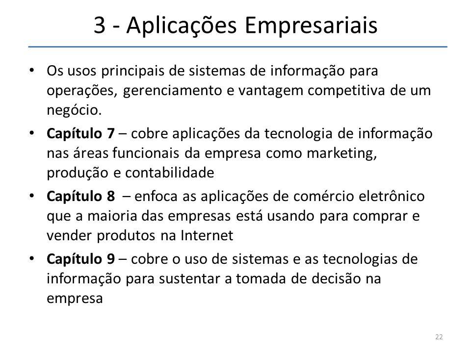 3 - Aplicações Empresariais • Os usos principais de sistemas de informação para operações, gerenciamento e vantagem competitiva de um negócio. • Capít