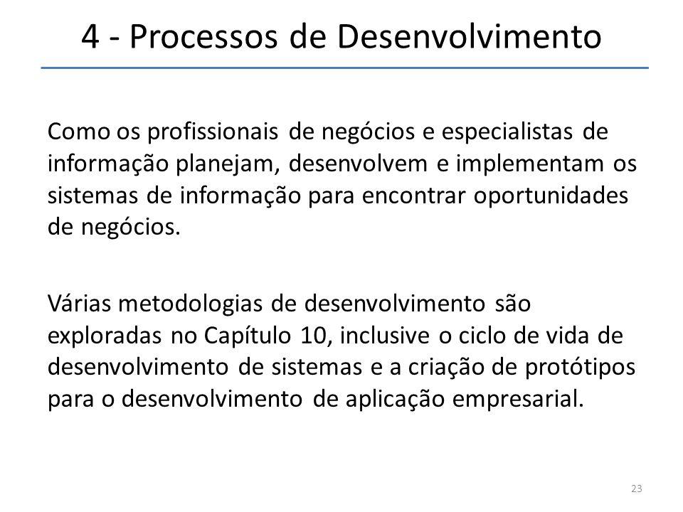 4 - Processos de Desenvolvimento Como os profissionais de negócios e especialistas de informação planejam, desenvolvem e implementam os sistemas de in