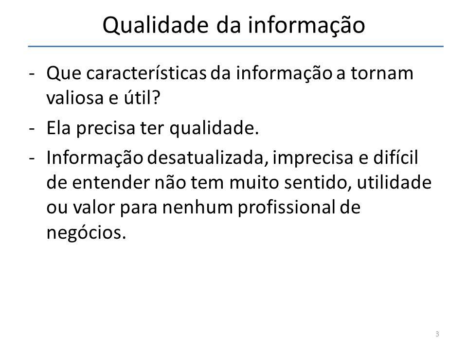 Qualidade da informação -Que características da informação a tornam valiosa e útil? -Ela precisa ter qualidade. -Informação desatualizada, imprecisa e
