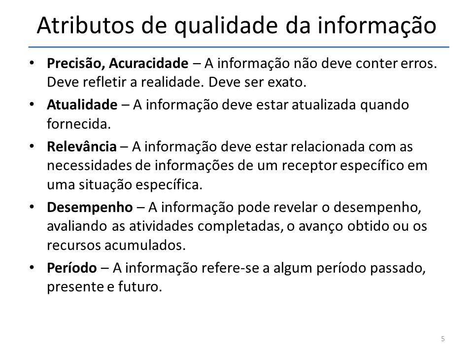 Atributos de qualidade da informação • Precisão, Acuracidade – A informação não deve conter erros.