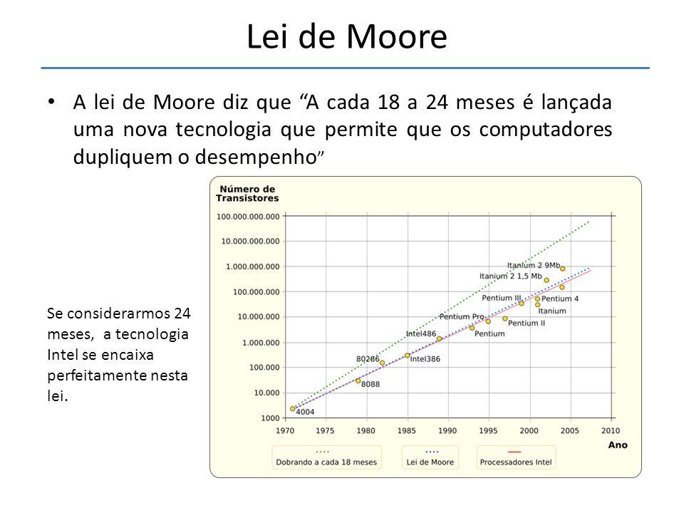 • A lei de Moore diz que A cada 18 a 24 meses é lançada uma nova tecnologia que permite que os computadores dupliquem o desempenho Lei de Moore Se considerarmos 24 meses, a tecnologia Intel se encaixa perfeitamente nesta lei.