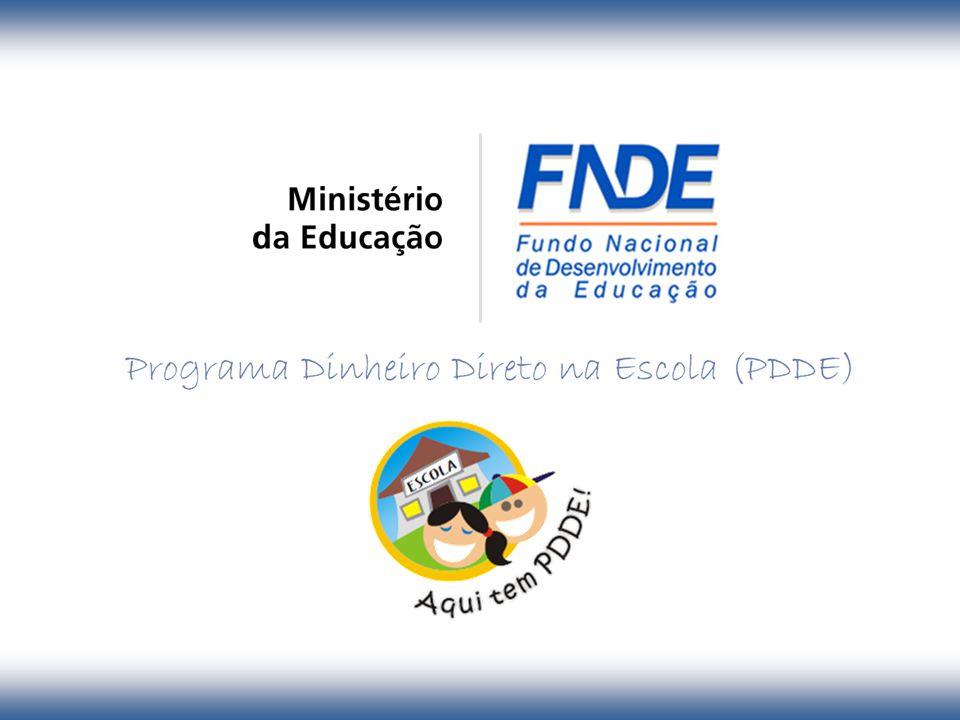 Objetivos Fortalecimento da participação social Além de destinar recursos às escolas, o PDDE visa: Integração Poder Público/Comunidade/ Escola/ Família Promoção da autonomia escolar Racionalização e simplificação dos procedimentos administrativos