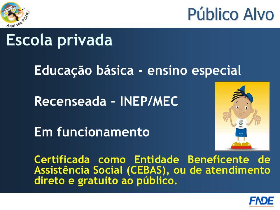 Público Alvo Escola privada Educação básica - ensino especial Recenseada – INEP/MEC Em funcionamento Certificada como Entidade Beneficente de Assistência Social (CEBAS), ou de atendimento direto e gratuito ao público.