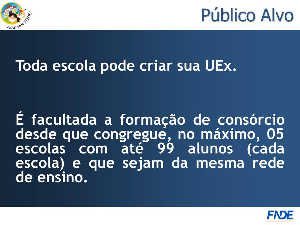 Público Alvo Toda escola pode criar sua UEx. É facultada a formação de consórcio desde que congregue, no máximo, 05 escolas com até 99 alunos (cada es