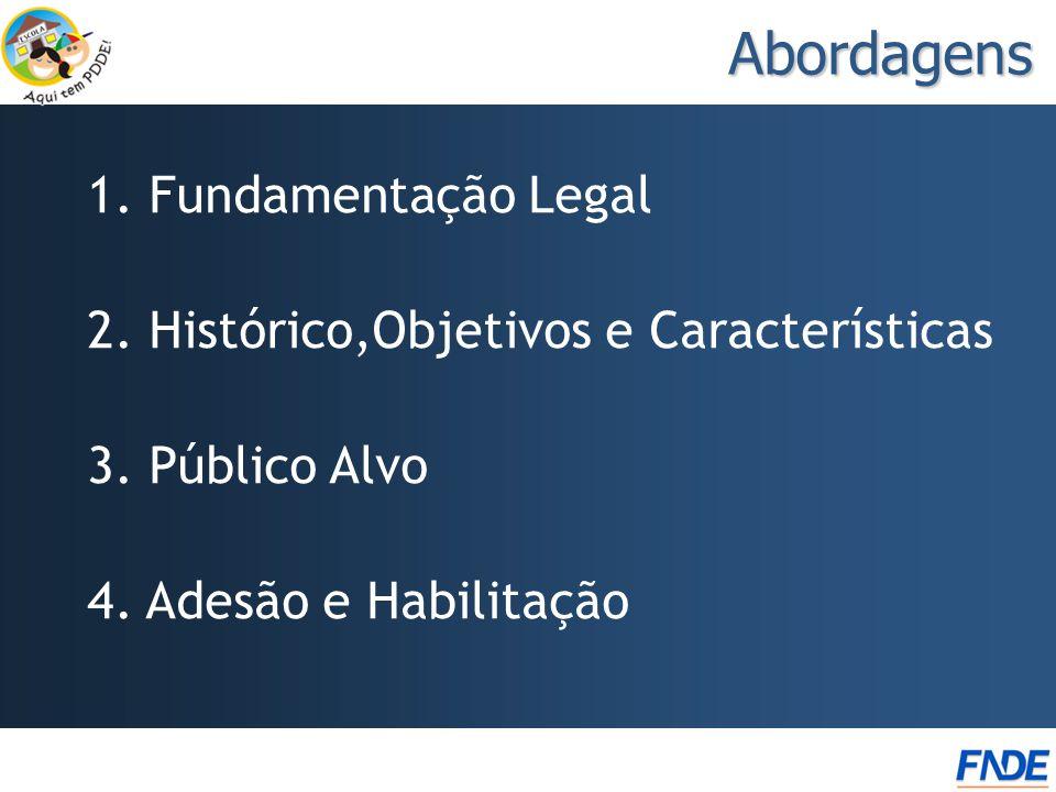 Abordagens 1. Fundamentação Legal 2. Histórico,Objetivos e Características 3. Público Alvo 4. Adesão e Habilitação