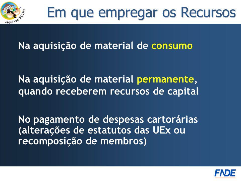 Na aquisição de material de consumo Em que empregar os Recursos No pagamento de despesas cartorárias (alterações de estatutos das UEx ou recomposição de membros) Na aquisição de material permanente, quando receberem recursos de capital
