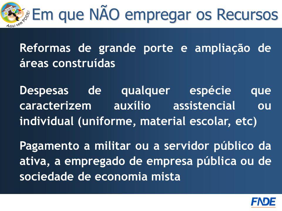 Reformas de grande porte e ampliação de áreas construídas Em que NÃO empregar os Recursos Pagamento a militar ou a servidor público da ativa, a empreg