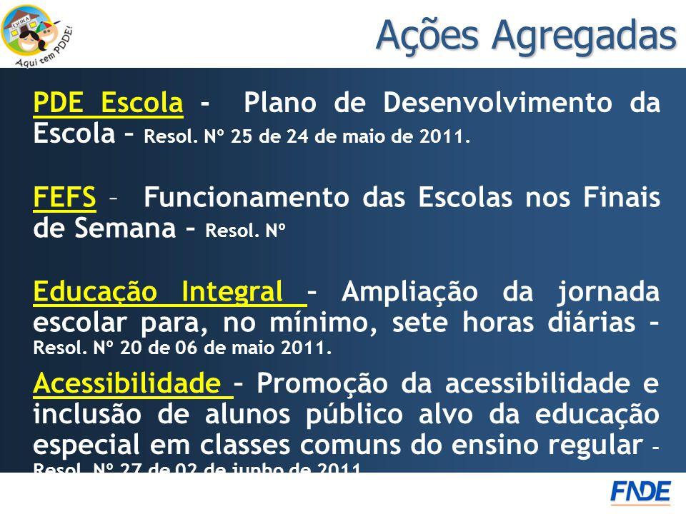 PDE Escola - Plano de Desenvolvimento da Escola – Resol. Nº 25 de 24 de maio de 2011.Escola Ações Agregadas Acessibilidade Acessibilidade – Promoção d