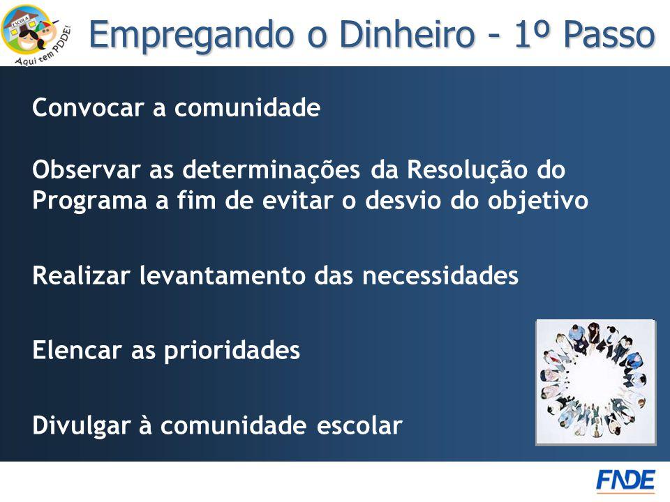 Convocar a comunidade Observar as determinações da Resolução do Programa a fim de evitar o desvio do objetivo Realizar levantamento das necessidades E