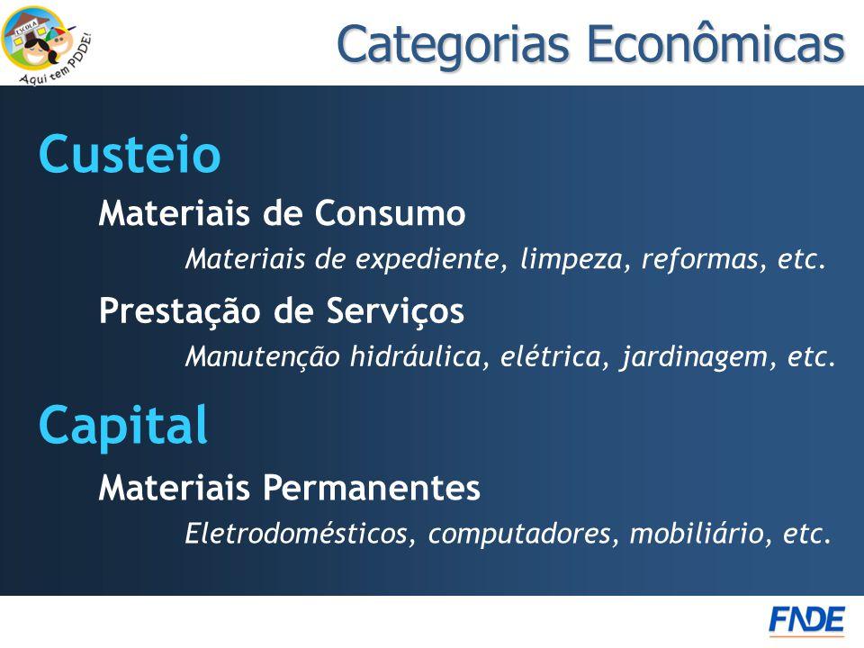Categorias Econômicas Custeio Capital Materiais de Consumo Materiais de expediente, limpeza, reformas, etc. Prestação de Serviços Manutenção hidráulic