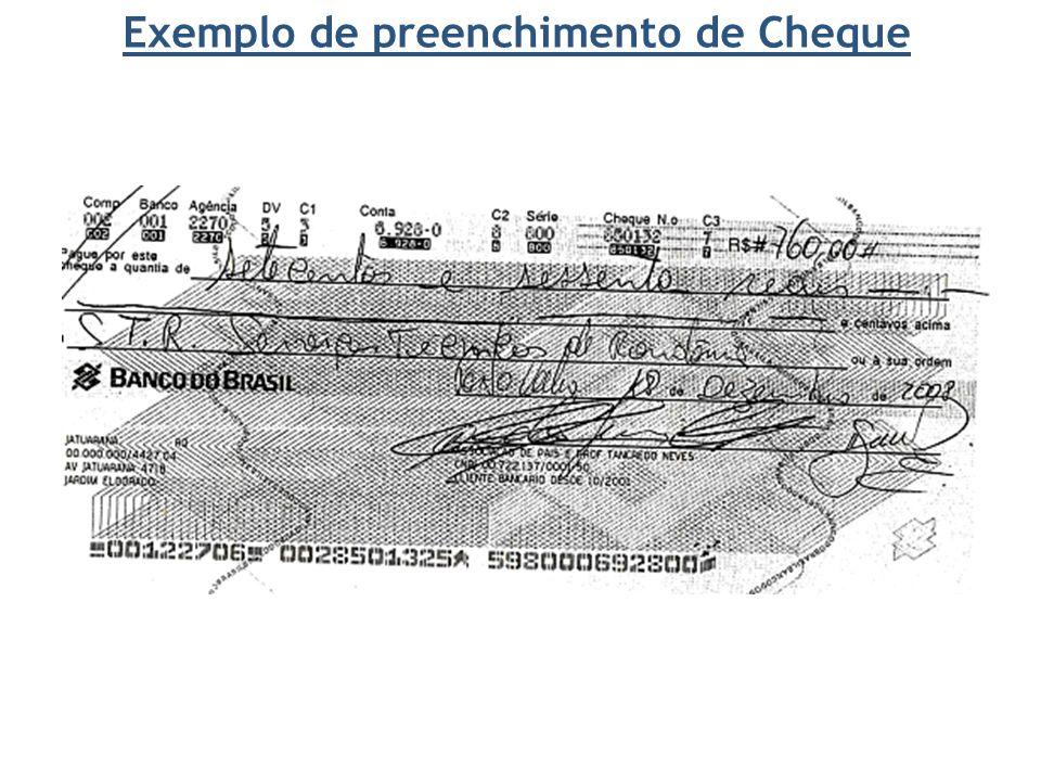 Exemplo de preenchimento de Cheque