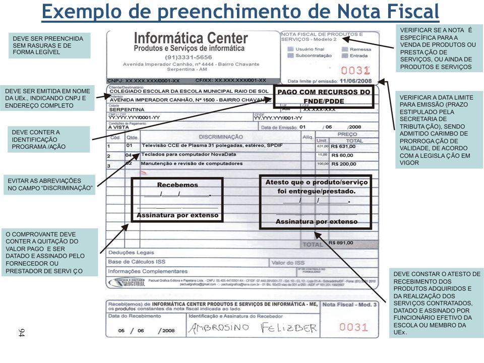 Exemplo de preenchimento de Nota Fiscal