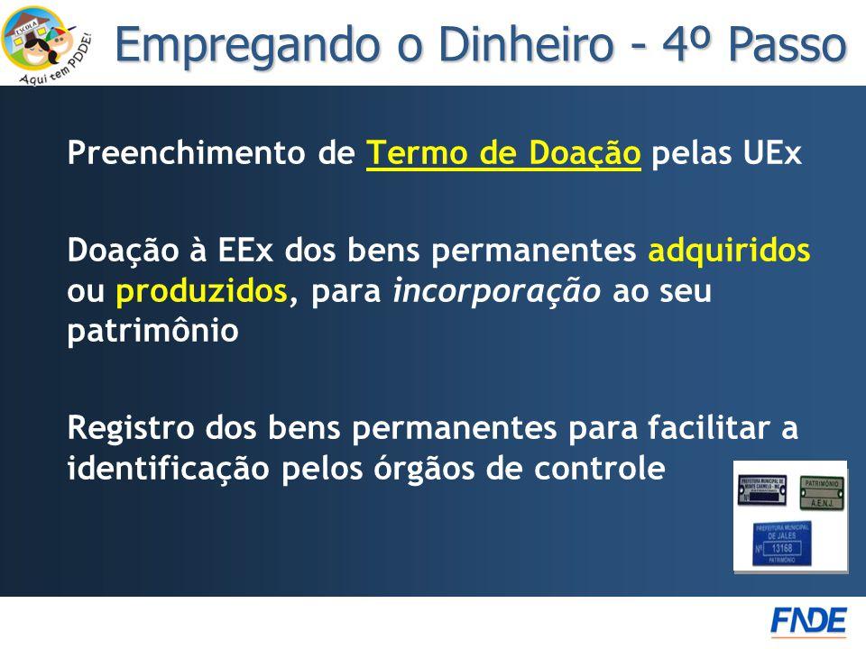 Preenchimento de Termo de Doação pelas UExTermo de Doação Doação à EEx dos bens permanentes adquiridos ou produzidos, para incorporação ao seu patrimô