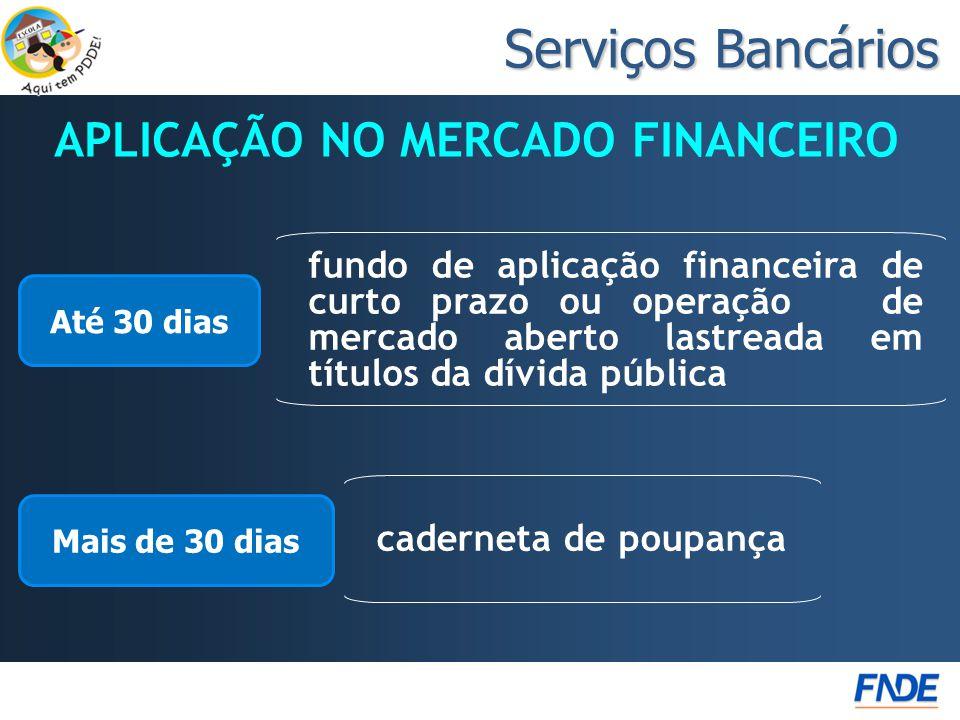 Serviços Bancários APLICAÇÃO NO MERCADO FINANCEIRO Até 30 dias fundo de aplicação financeira de curto prazo ou operação de mercado aberto lastreada em
