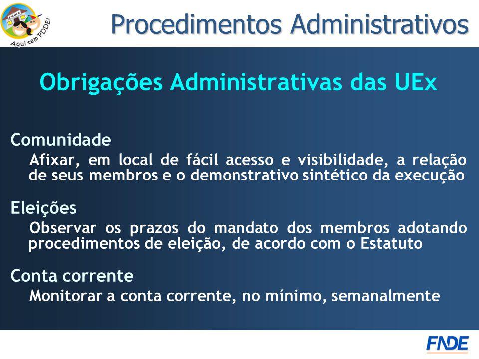Obrigações Administrativas das UEx Comunidade Afixar, em local de fácil acesso e visibilidade, a relação de seus membros e o demonstrativo sintético d