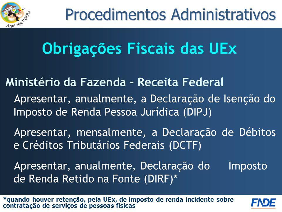 Obrigações Fiscais das UEx Ministério da Fazenda – Receita Federal Apresentar, anualmente, a Declaração de Isenção do Imposto de Renda Pessoa Jurídica (DIPJ) Apresentar, mensalmente, a Declaração de Débitos e Créditos Tributários Federais (DCTF) Apresentar, anualmente, Declaração do Imposto de Renda Retido na Fonte (DIRF)* *quando houver retenção, pela UEx, de imposto de renda incidente sobre contratação de serviços de pessoas físicas Procedimentos Administrativos