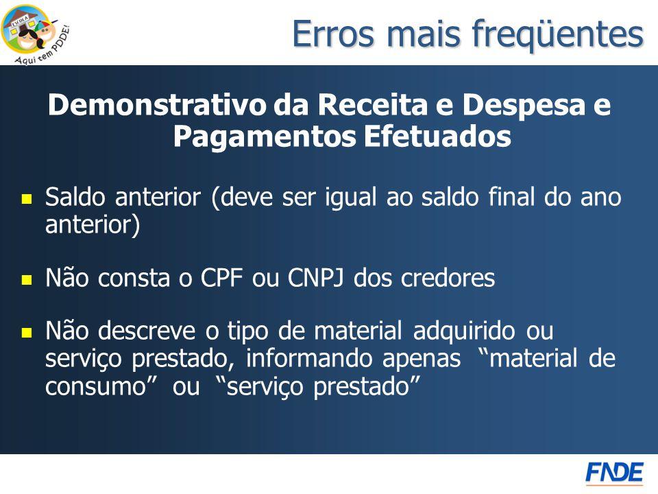 Demonstrativo da Receita e Despesa e Pagamentos Efetuados   Saldo anterior (deve ser igual ao saldo final do ano anterior)   Não consta o CPF ou C