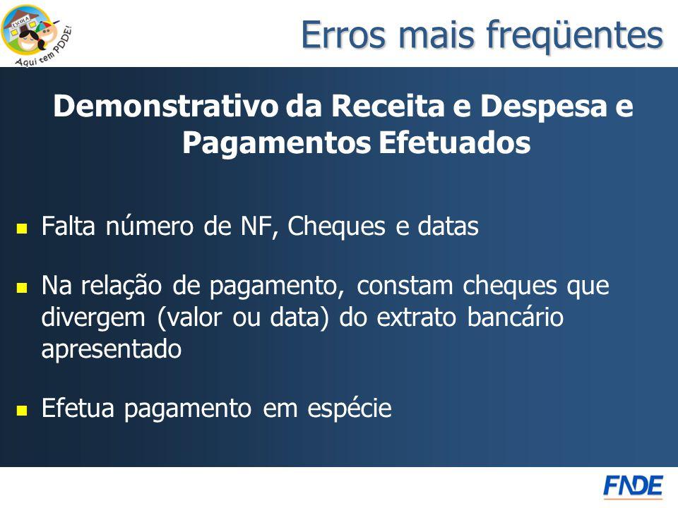 Demonstrativo da Receita e Despesa e Pagamentos Efetuados   Falta número de NF, Cheques e datas   Na relação de pagamento, constam cheques que div