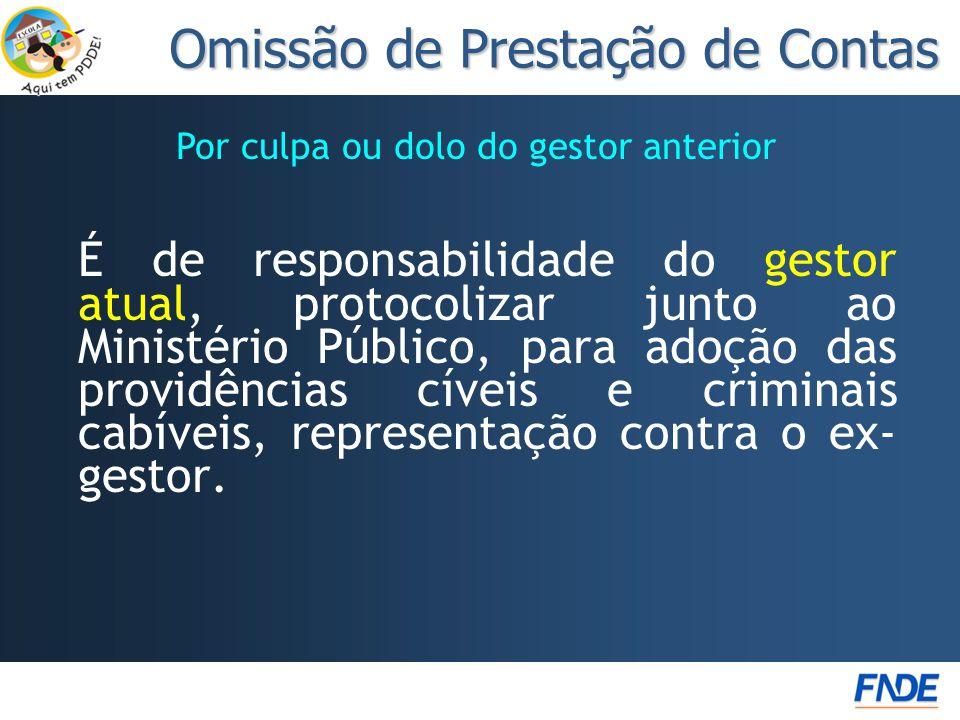 Por culpa ou dolo do gestor anterior É de responsabilidade do gestor atual, protocolizar junto ao Ministério Público, para adoção das providências cív