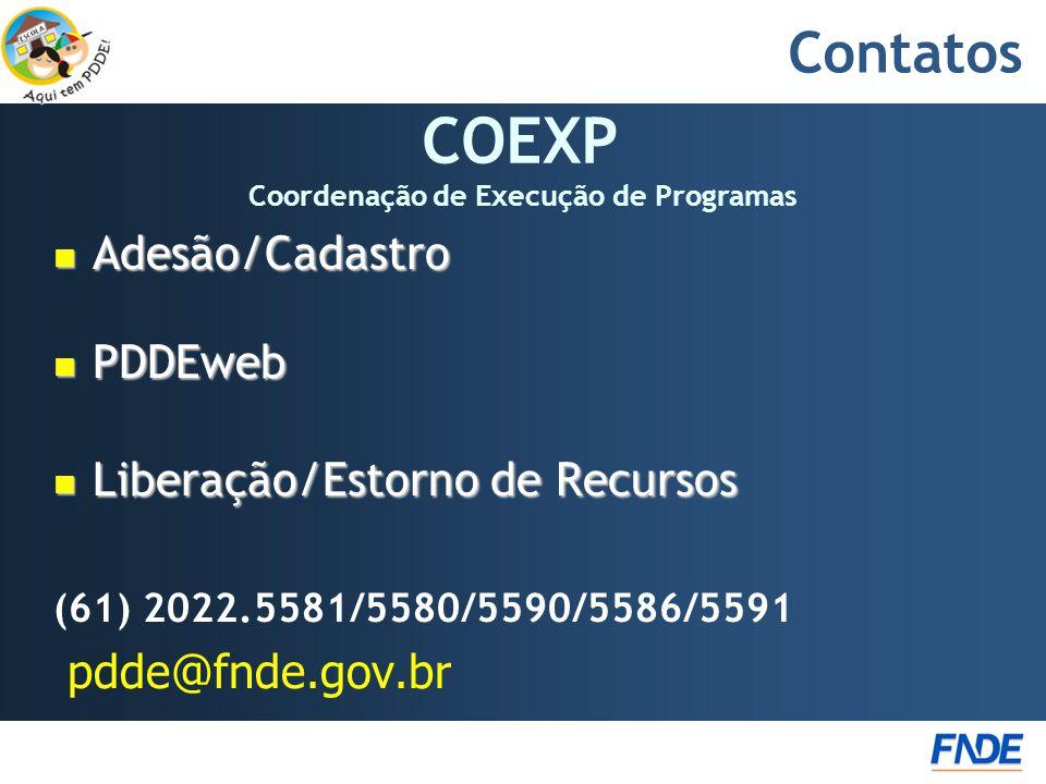 Contatos  Adesão/Cadastro  PDDEweb  Liberação/Estorno de Recursos (61) 2022.5581/5580/5590/5586/5591 pdde@fnde.gov.br COEXP Coordenação de Execução de Programas