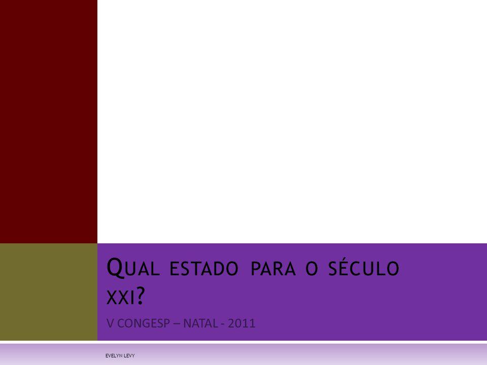 B RASIL :T ENDÊNCIAS HISTÓRICAS  O Brasil vive desde 1930 processo quase ininterrupto de desenvolvimento econômico, modernização social e participação política (Bacha & Schwartzman)  Conquistas de 1980 – 2011:  Média de escolaridade: 2,6 anos p/ 7,2 anos  Expectativa de vida: 62,5 – 73,5 EVELYN LEVY