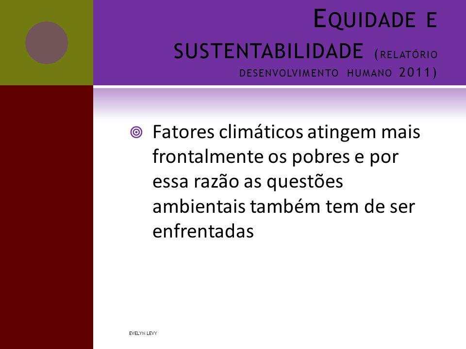 E QUIDADE E SUSTENTABILIDADE ( RELATÓRIO DESENVOLVIMENTO HUMANO 2011)  Fatores climáticos atingem mais frontalmente os pobres e por essa razão as questões ambientais também tem de ser enfrentadas EVELYN LEVY