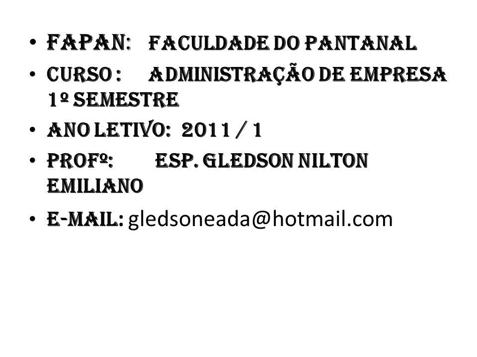 • FAPAN: Faculdade do Pantanal • Curso : Administração de Empresa 1º semestre • Ano Letivo: 2011 / 1 • Profº: Esp.