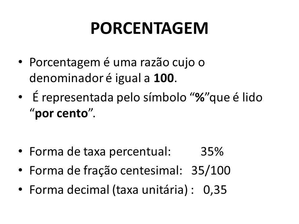 PORCENTAGEM • Porcentagem é uma razão cujo o denominador é igual a 100.