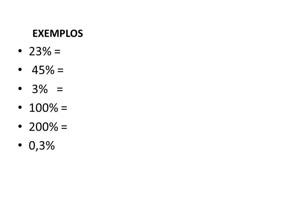 EXEMPLOS • 23% = • 45% = • 3% = • 100% = • 200% = • 0,3%