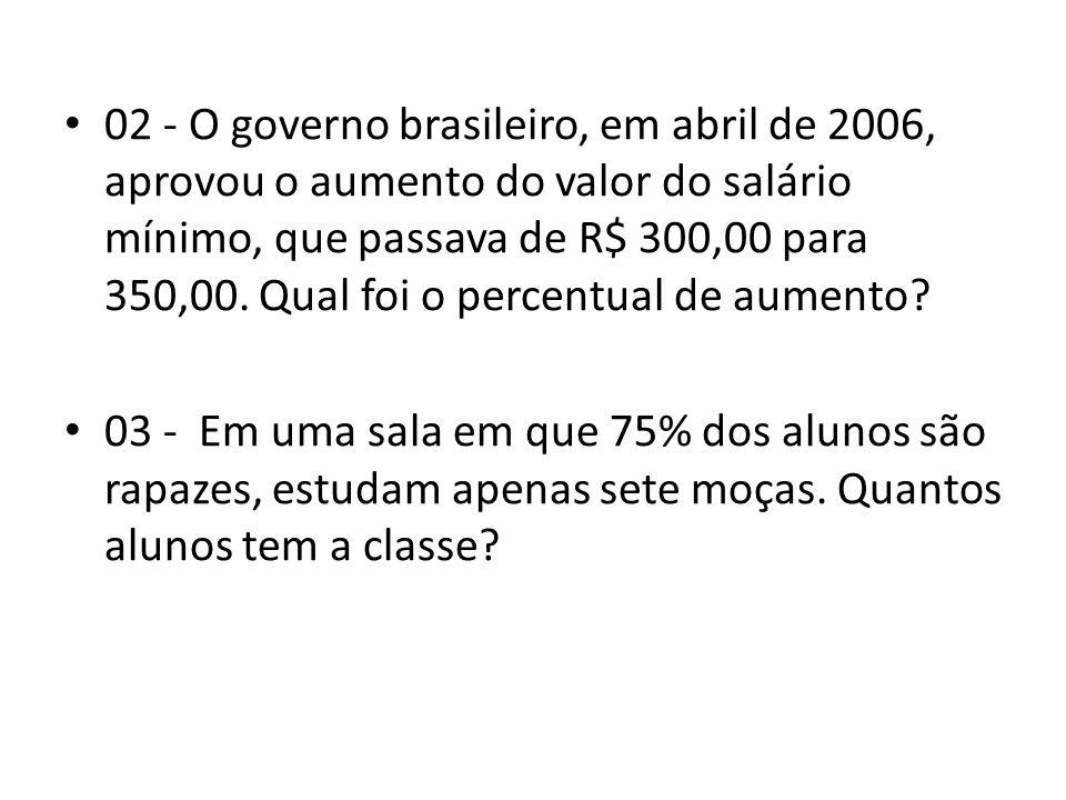• 02 - O governo brasileiro, em abril de 2006, aprovou o aumento do valor do salário mínimo, que passava de R$ 300,00 para 350,00.