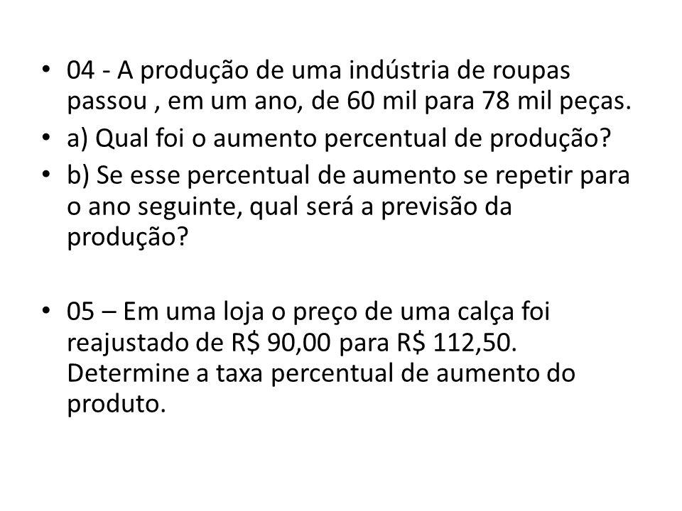 • 04 - A produção de uma indústria de roupas passou, em um ano, de 60 mil para 78 mil peças.