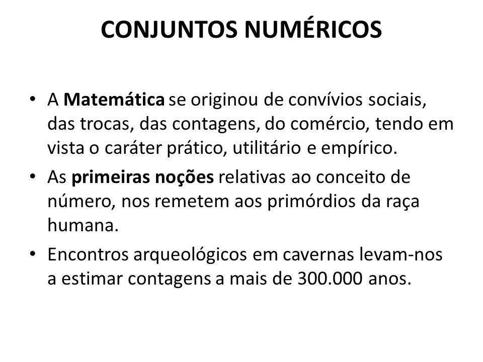CONJUNTOS NUMÉRICOS • A Matemática se originou de convívios sociais, das trocas, das contagens, do comércio, tendo em vista o caráter prático, utilitário e empírico.