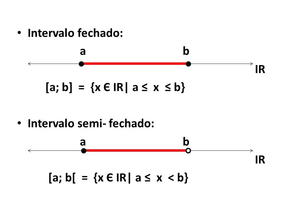 • Intervalo fechado: a b IR [a; b] = {x Є IR| a ≤ x ≤ b} • Intervalo semi- fechado: a b IR [a; b[ = {x Є IR| a ≤ x < b}