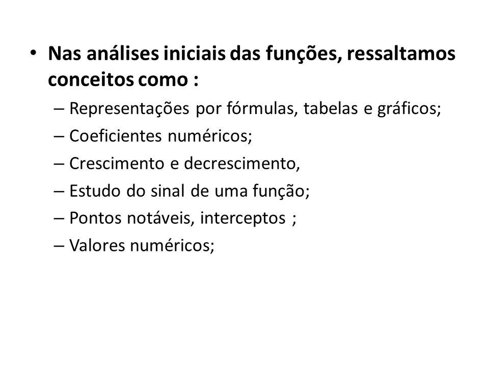 • Nas análises iniciais das funções, ressaltamos conceitos como : – Representações por fórmulas, tabelas e gráficos; – Coeficientes numéricos; – Crescimento e decrescimento, – Estudo do sinal de uma função; – Pontos notáveis, interceptos ; – Valores numéricos;