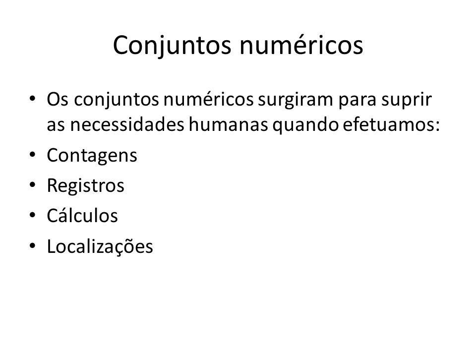 Conjuntos numéricos • Os conjuntos numéricos surgiram para suprir as necessidades humanas quando efetuamos: • Contagens • Registros • Cálculos • Localizações
