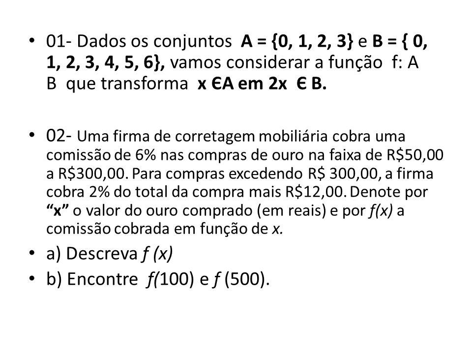 • 01- Dados os conjuntos A = {0, 1, 2, 3} e B = { 0, 1, 2, 3, 4, 5, 6}, vamos considerar a função f: A B que transforma x ЄA em 2x Є B.
