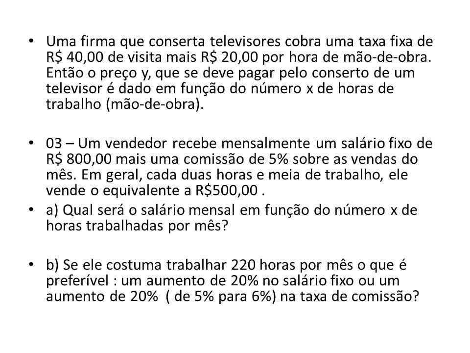 • Uma firma que conserta televisores cobra uma taxa fixa de R$ 40,00 de visita mais R$ 20,00 por hora de mão-de-obra.
