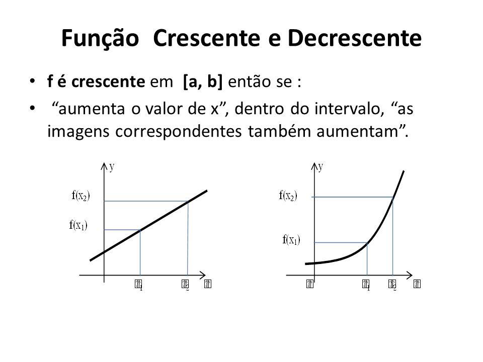 Função Crescente e Decrescente • f é crescente em [a, b] então se : • aumenta o valor de x , dentro do intervalo, as imagens correspondentes também aumentam .